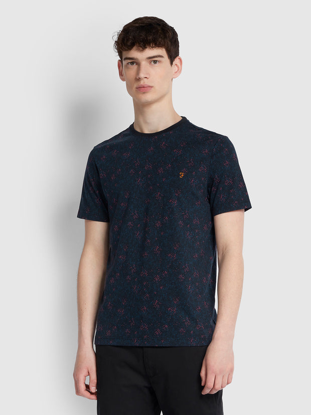 WILLET SLIM FIT CAMOUFLAGE PRINT T-SHIRT IN DEEP BLACK