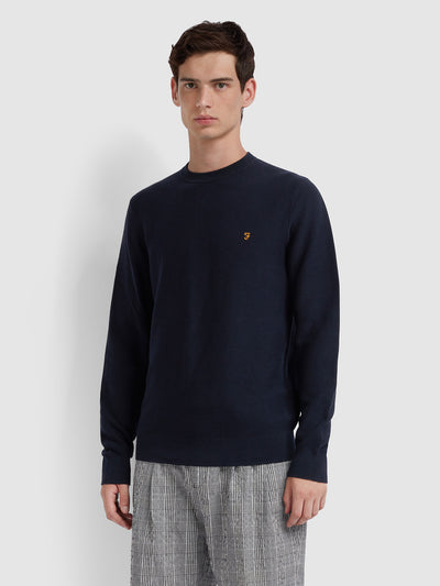 Delta Cotton Textured Crew Neck Jumper In True Navy