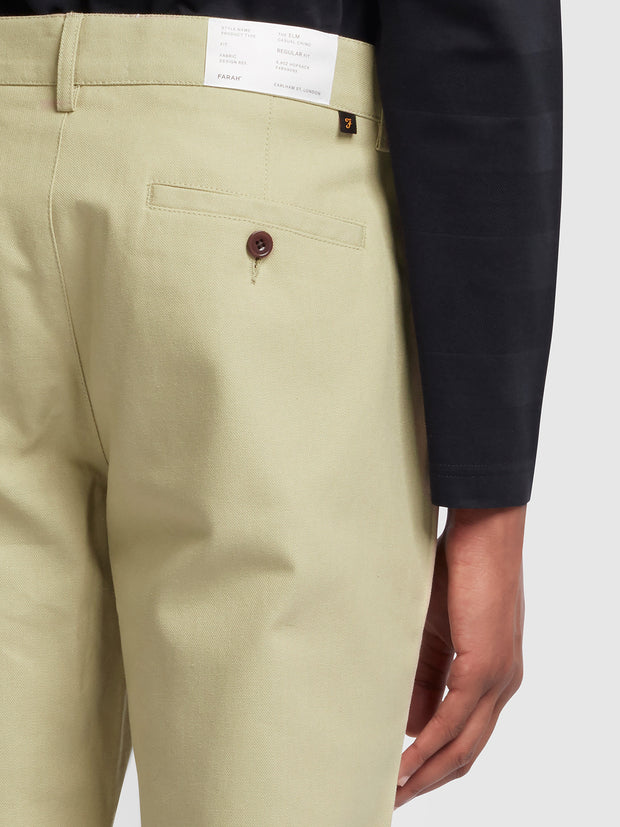 ELM REGULAR FIT COTTON HOPSACK TROUSERS IN SANDSTONE