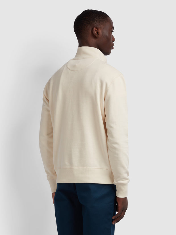 Segundo Cotton Striped Funnel Neck Sweatshirt In Cream