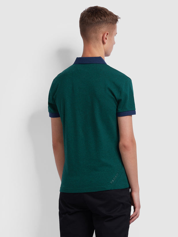 ENFIELD SKINNY FIT CONTRAST TIPPED POLO SHIRT IN DARK GREEN MARL