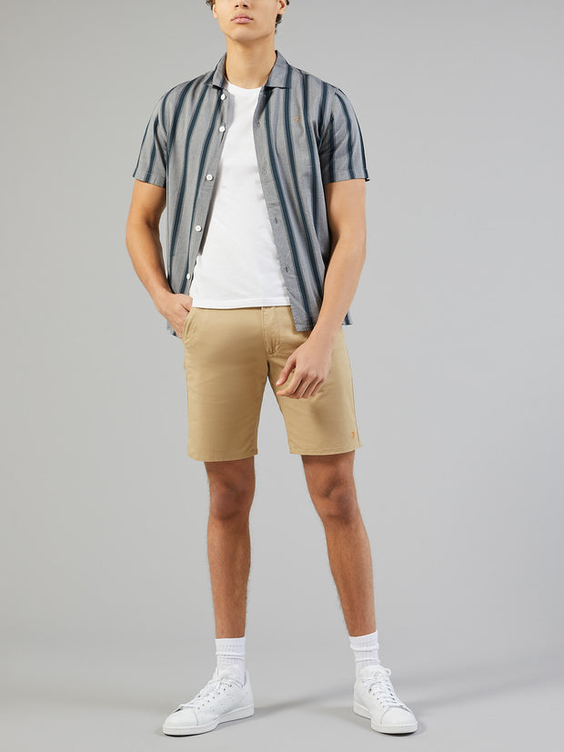 RICARDO CASUAL FIT SHORT SLEEVE STRIPED SHIRT IN TRUE NAVY