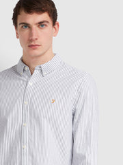 BREWER SLIM FIT STRIPED OXFORD SHIRT IN TRUE NAVY