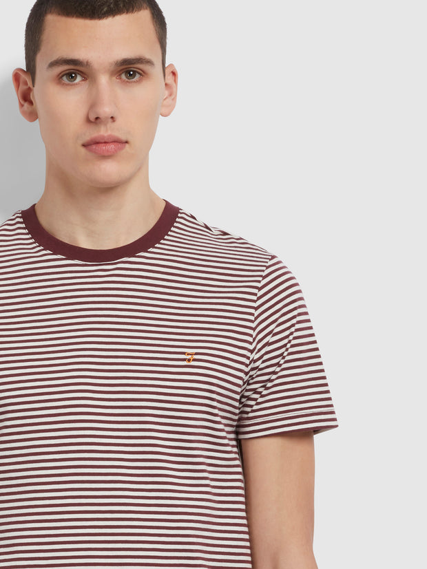 Daytona Slim Fit Striped Organic Cotton T-Shirt In Farah Red