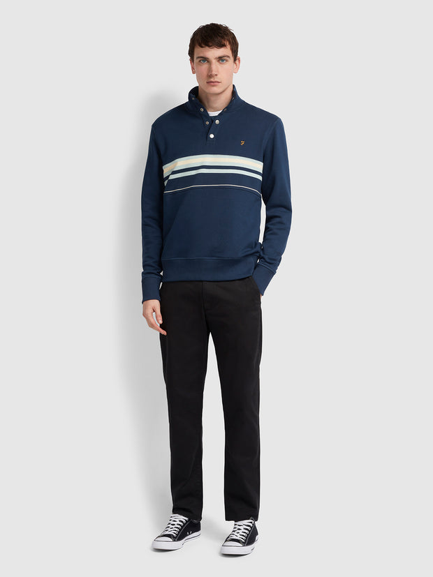 Segundo Cotton Striped Funnel Neck Sweatshirt In Yale