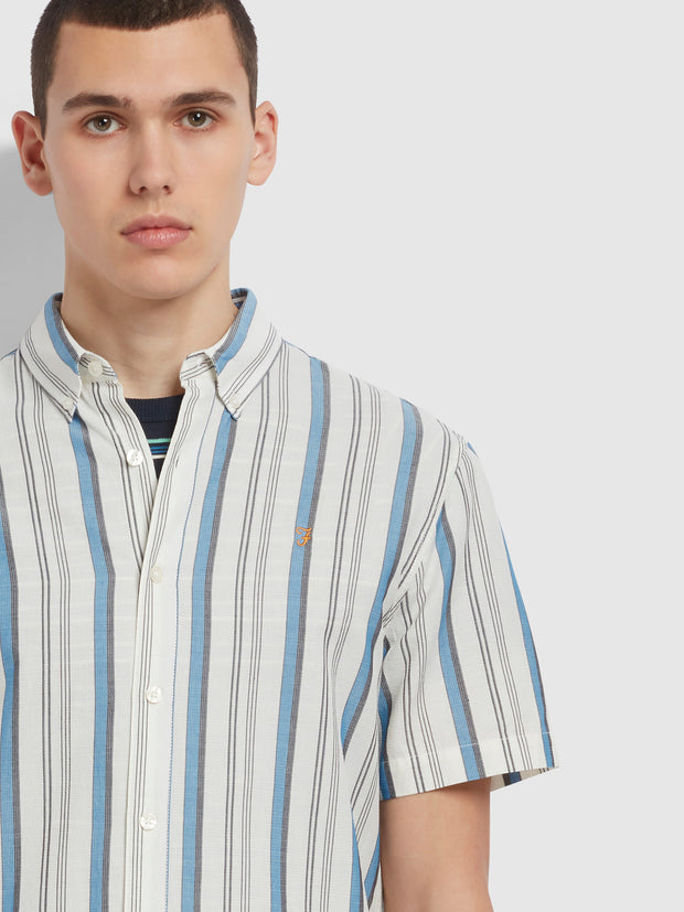 Robertson Casual Fit Short Sleeve Striped Organic Cotton Shirt In Ecru