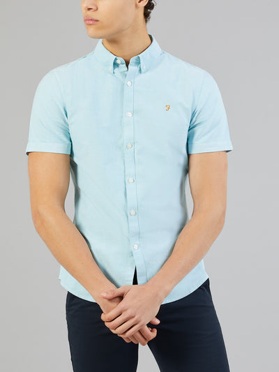 Brewer Slim Fit Short Sleeve Oxford Shirt In Turquoise Green