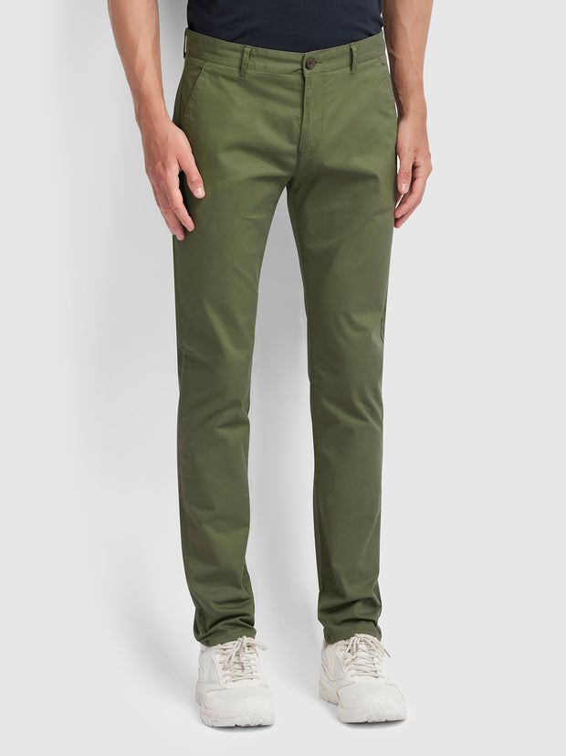Drake Slim Fit Twill Chinos In Vintage Green