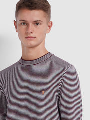 Bailey Striped Crew Neck Jumper In Farah Red