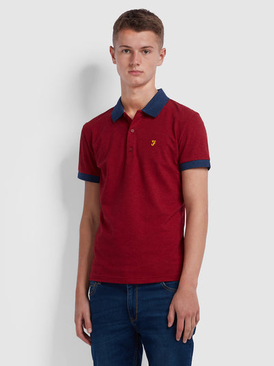 ENFIELD SKINNY FIT CONTRAST TIPPED POLO SHIRT IN CURRANT MARL