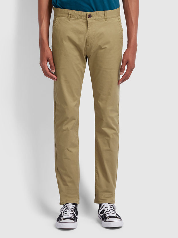 Drake Slim Fit Twill Chinos In Beige