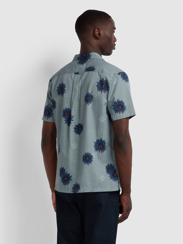 Odessa Casual Fit Short Sleeve Floral Print Shirt In Green Mist