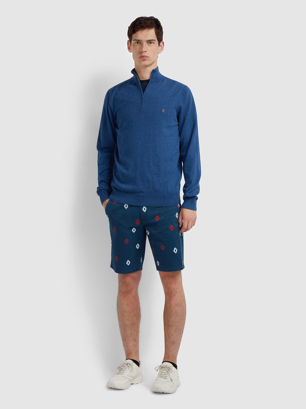Hawk Diamond Print Shorts In Farah Teal