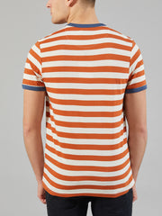 BELGROVE SLIM FIT STRIPED T-SHIRT IN GOLDFISH
