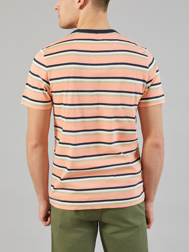 PIPER SLIM FIT STRIPED T-SHIRT IN PEACH