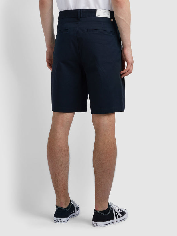Casey Double Pleat Shorts In True Navy