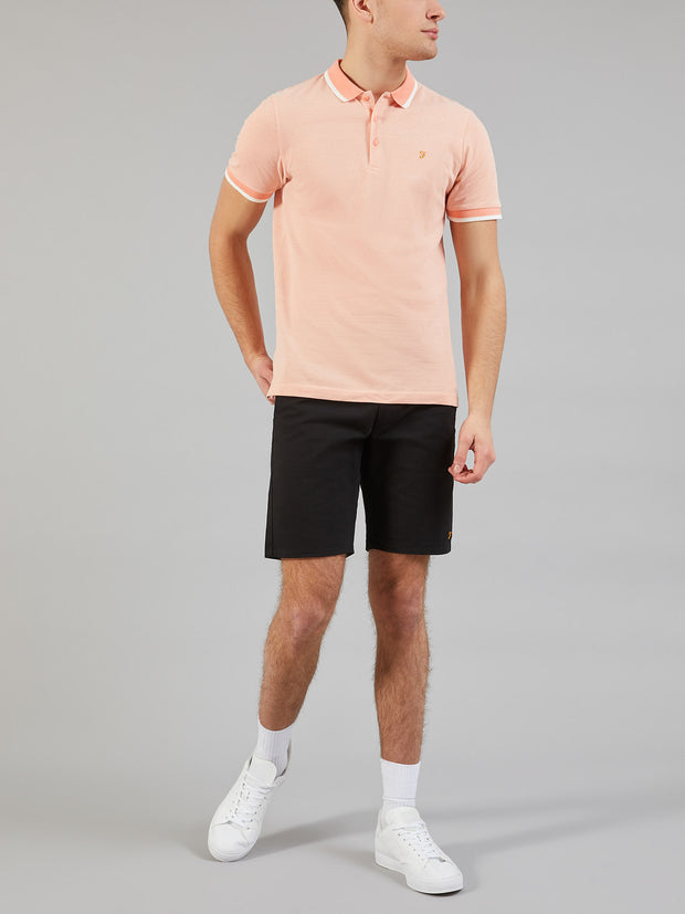 BASEL SLIM FIT TIPPED POLO SHIRT IN PEACH