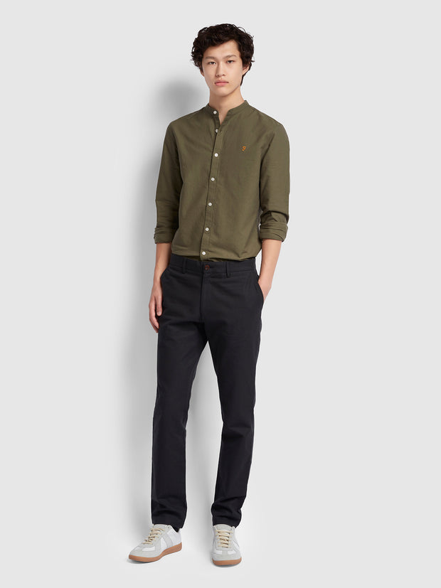 BREWER SLIM FIT GRANDAD OXFORD SHIRT IN MILITARY GREEN