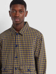 Farah X YMC Madras Check Jacket In Sailor Blue