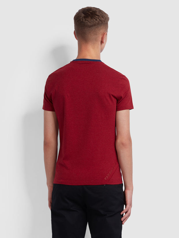 TRANMERE SKINNY FIT T-SHIRT IN CURRANT MARL