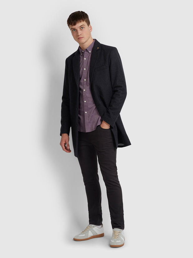 Steen Slim Fit Brushed Cotton Oxford Shirt In Raisin