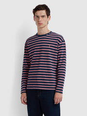 Barrio Casual Fit Long Sleeve Striped T-Shirt In Yale