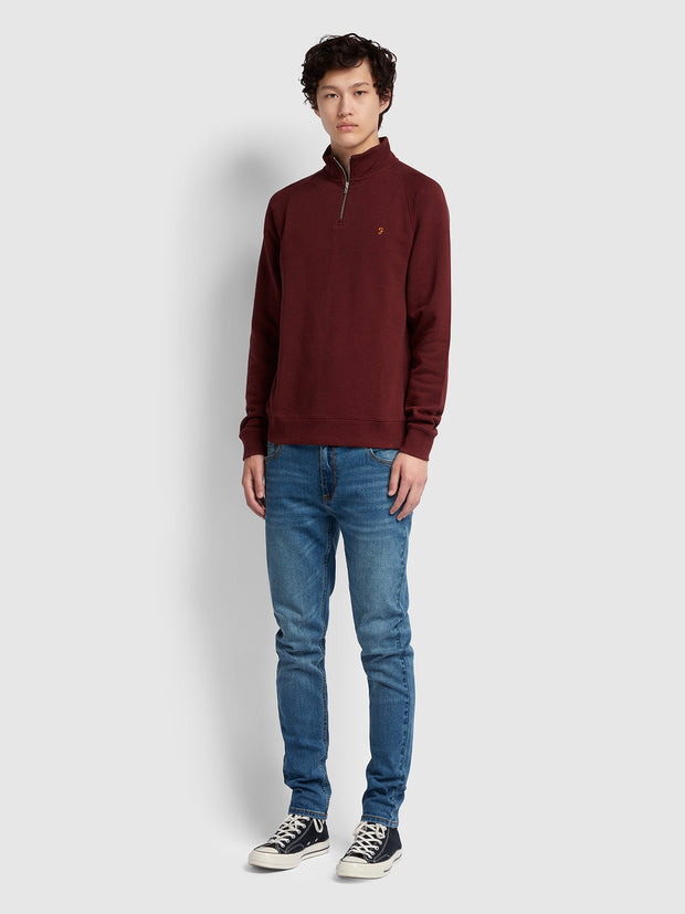 Jim Cotton Quarter Zip Sweatshirt In Farah Red Marl