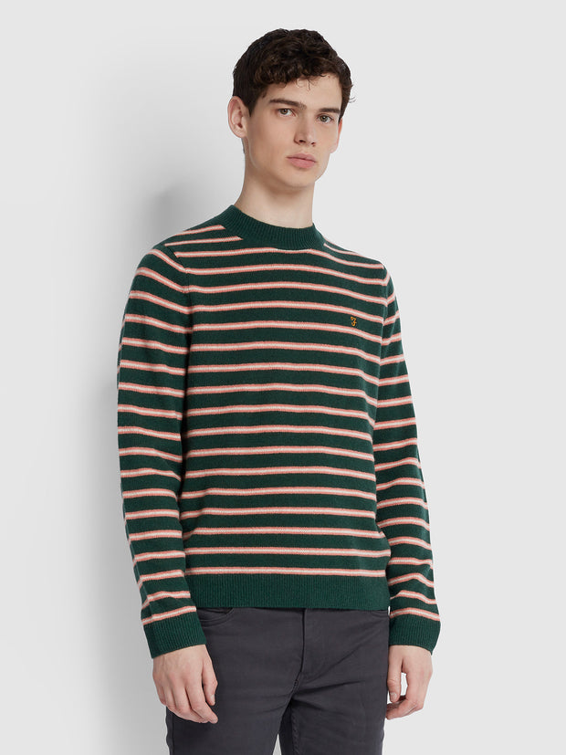 BRUCE LAMBSWOOL STRIPED FUNNEL NECK JUMPER IN BRIGHT EMERALD