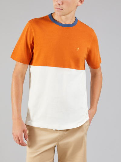 EWOOD COLOUR BLOCK T-SHIRT IN GOLDFISH