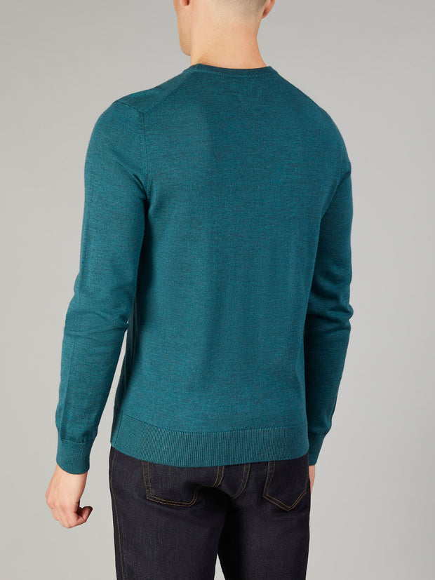 MULLEN MERINO WOOL CREW NECK JUMPER IN DARK TEAL MARL