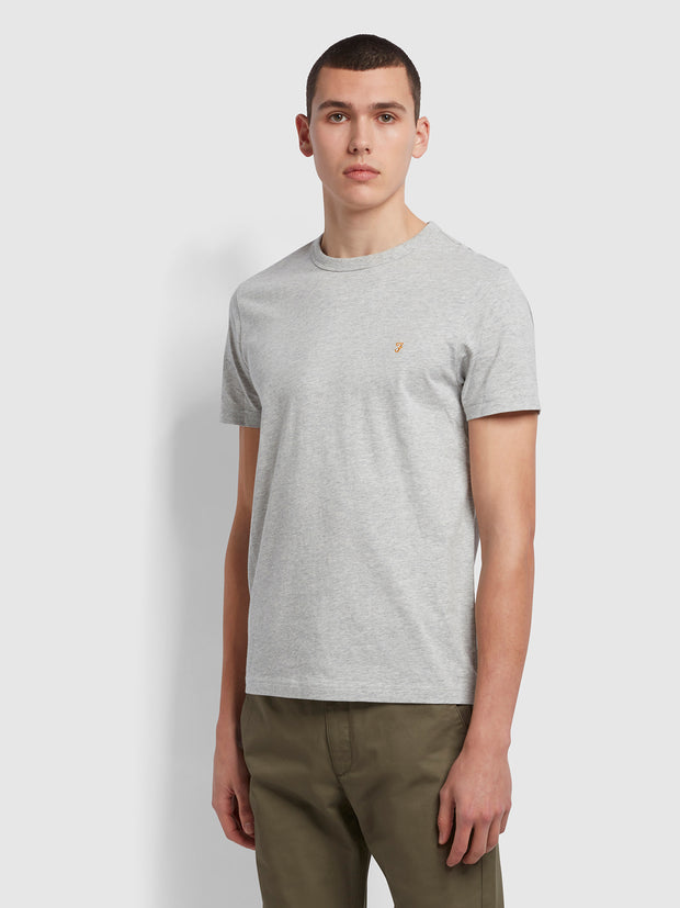 Danny Slim Fit Organic Cotton T-Shirt In Grey Marl