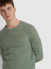 Garway Lambswool Ribbed Knit Crew Neck Jumper In Winter Balsam Marl