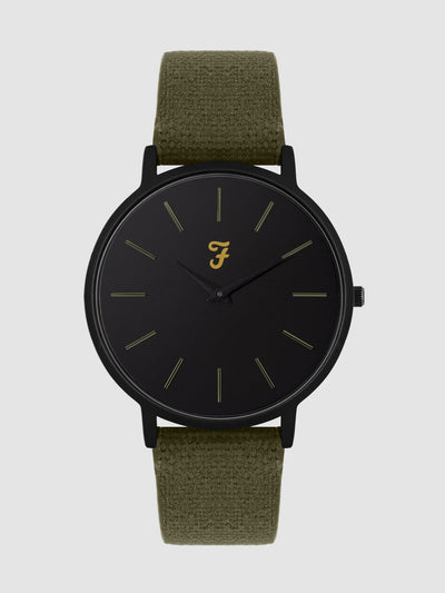 FARAH HERITAGE HOPSACK CANVAS STRAP WATCH IN DEEP BLACK