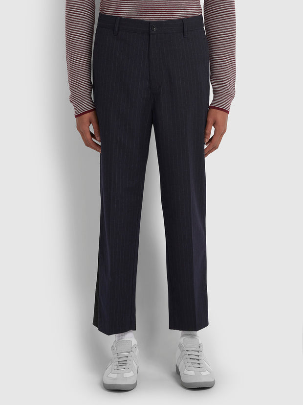 HAWTIN RELAXED FIT PINSTRIPE HOPSACK CROPPED TROUSERS IN TRUE NAVY