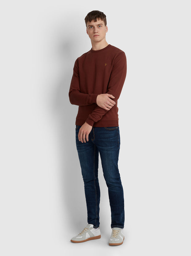 Pickwell Cotton Crew Neck Sweatshirt In Burnt Red