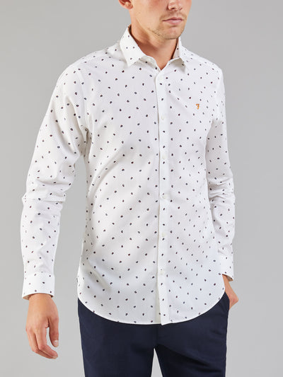 Oakton Tailored Slim Fit Printed Shirt In White