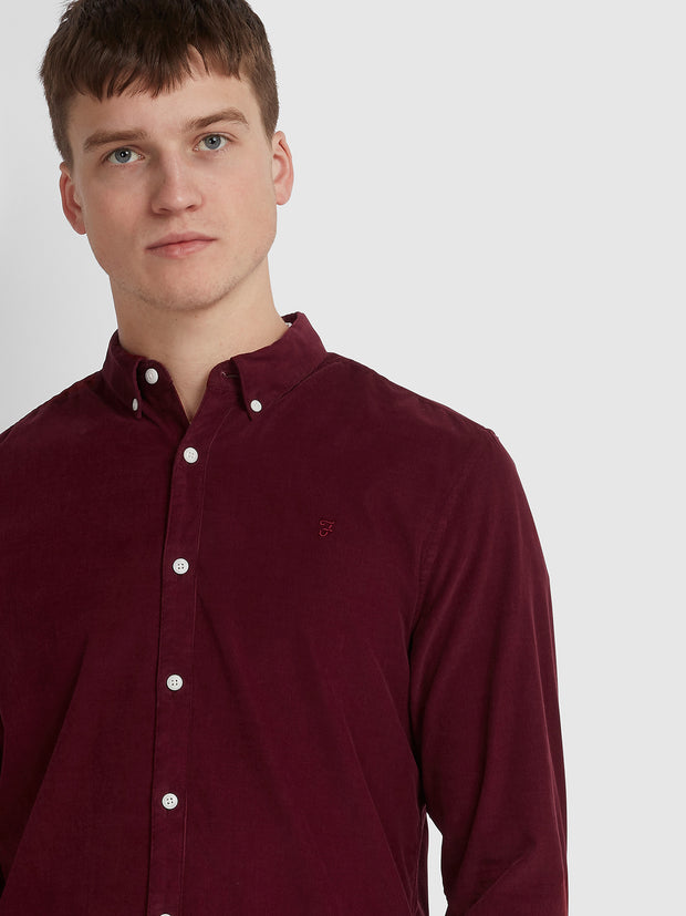 FONTELLA SLIM FIT CORD SHIRT IN BURNT RED