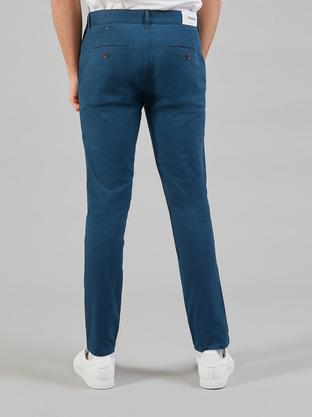 DRAKE SLIM FIT TWILL CHINOS IN BLUE STAR