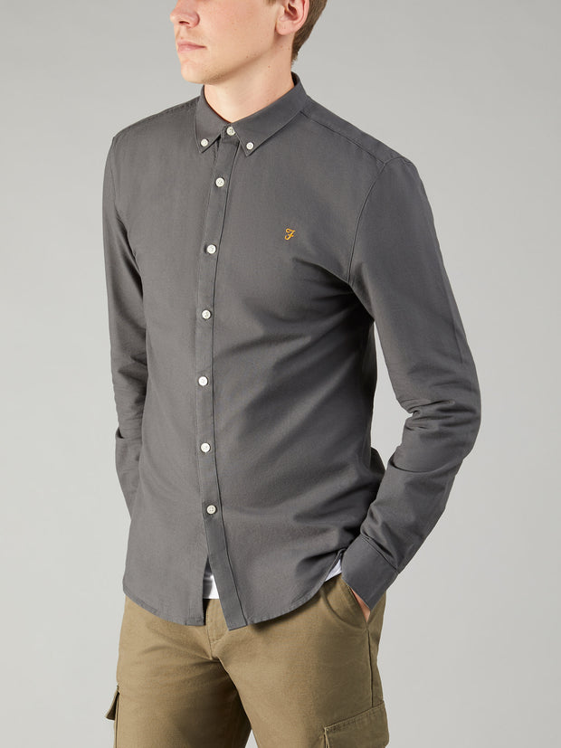 Brewer Slim Fit Oxford Shirt In Asphalt