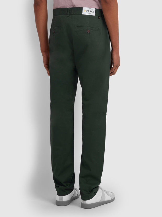 ELM REGULAR FIT TWILL CHINOS IN DEEP OLIVE