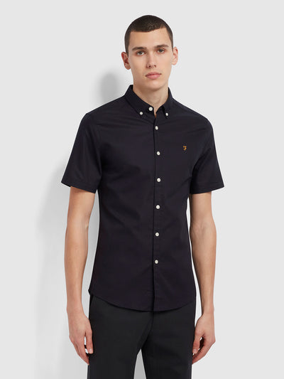 Brewer Slim Fit Short Sleeve Organic Cotton Oxford Shirt In Navy