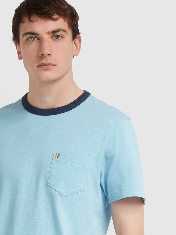 GROOVE SLIM FIT POCKET T-SHIRT IN MOONSTONE