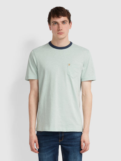GROOVE SLIM FIT POCKET T-SHIRT IN GREEN MIST