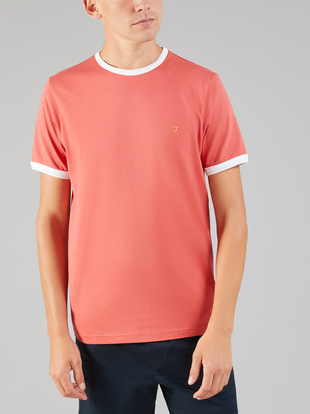 GROVES SLIM FIT RINGER T-SHIRT IN RED COAT