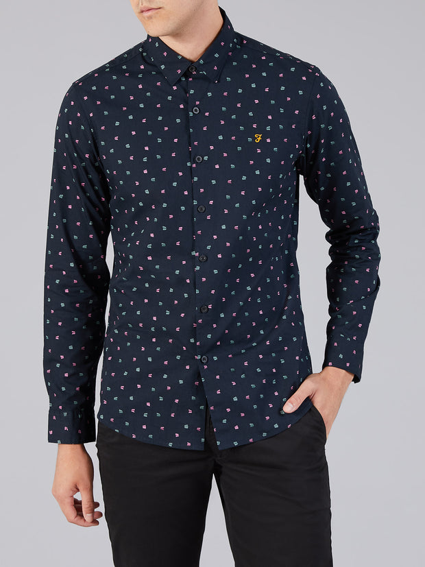 DROOG SLIM FIT PRINTED SHIRT IN TRUE NAVY