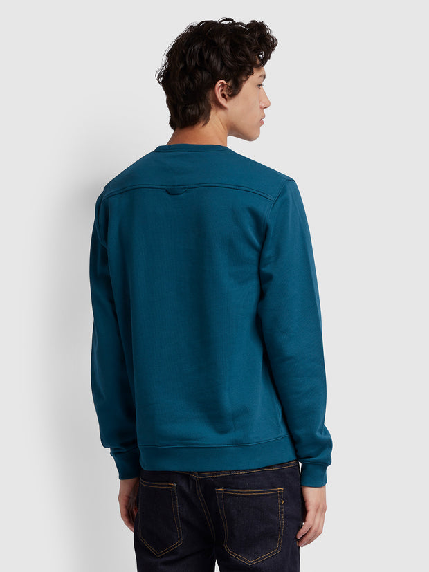 Pickwell Cotton Crew Neck Sweatshirt In Teal