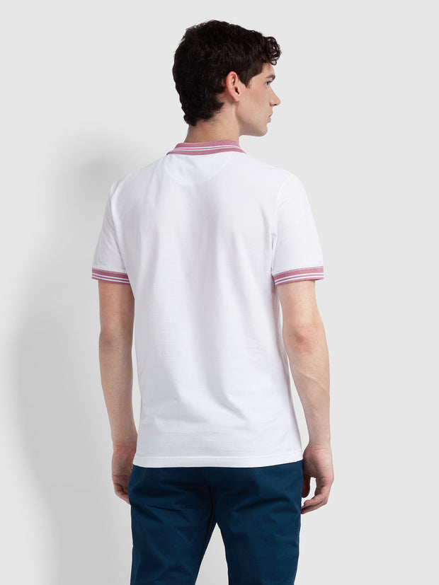 Stanton Slim Fit Tipped Polo Shirt In White