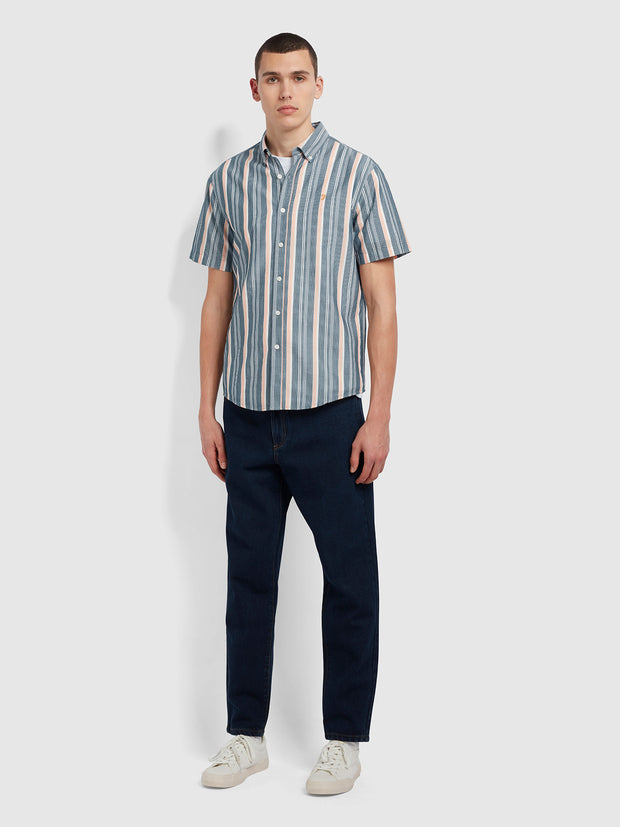 Robertson Casual Fit Short Sleeve Striped Organic Cotton Shirt In Yale