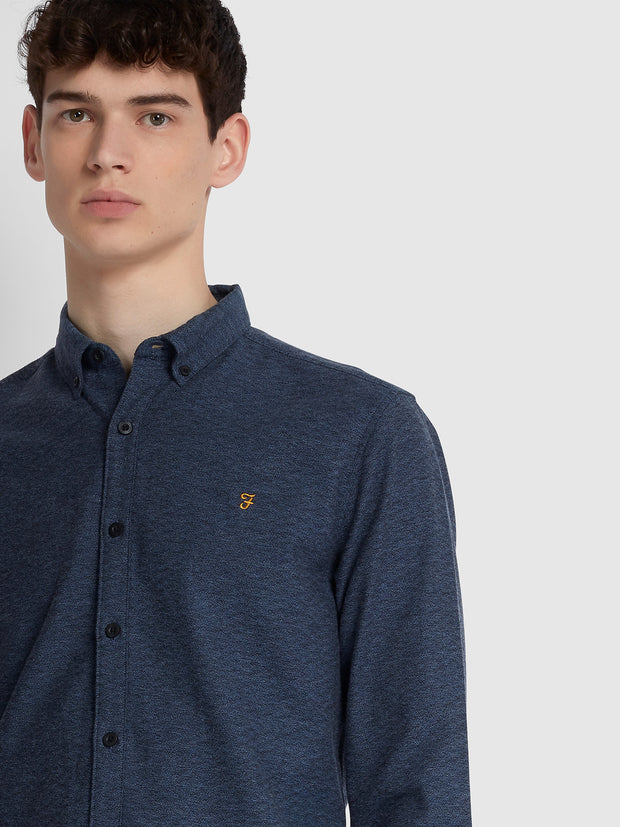 KREO SLIM FIT BRUSHED COTTON SHIRT IN COLD METAL
