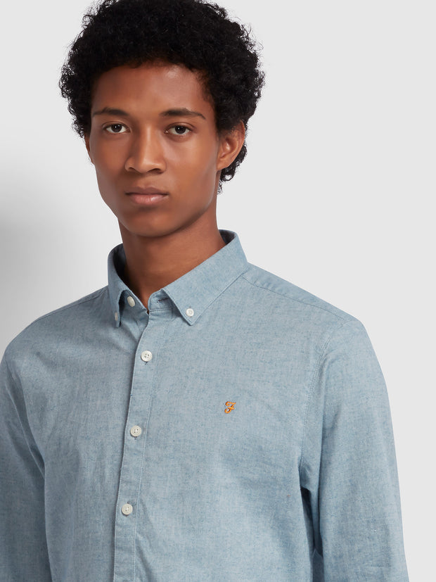 Steen Slim Fit Brushed Cotton Oxford Shirt In Stellar